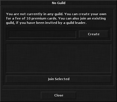 Create or join guild dialog.